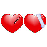 Love Hearts. Two Wounded And Treated Red Love Hearts stock illustration