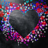 Love and hearts background. Love background. Multicolored hearts on the blackboard Stock Photo