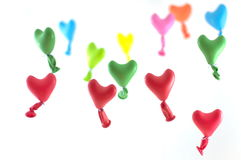 Love hearts balloons. Balloons flying in heart shape Stock Images