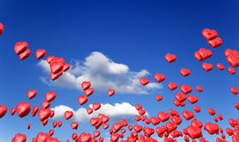 Love hearts in blue sky Royalty Free Stock Photos