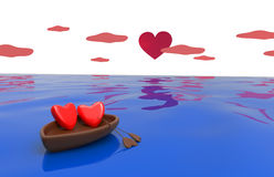 Love hearts in a boat Royalty Free Stock Images