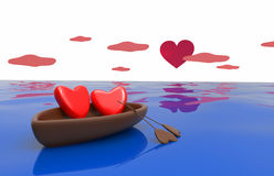Love hearts in a boat Royalty Free Stock Photo