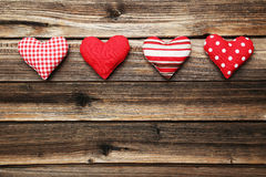 Love hearts on the brown wooden background Stock Photo