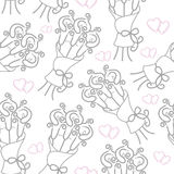 Love hearts and calla lilies pattern Royalty Free Stock Photos