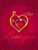 Love hearts card on red ornamental background. Romantic valentine wallpaper with two jewelery hearts Royalty Free Illustration