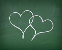 Love hearts on chalkboard Royalty Free Stock Image