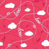 Love, Hearts and  Clouds Seamless Pattern. Vector seamless pattern with love words, hearts, tangled lines and clouds. Repeating abstract background for romantic Royalty Free Stock Photography