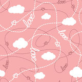 Love, Hearts and  Clouds Seamless Pattern. Vector seamless pattern with love words, hearts, tangled lines and clouds. Repeating abstract background for romantic Stock Images