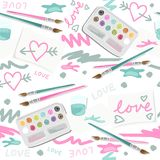 Love and hearts colorful painting on white Royalty Free Stock Photos