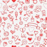 Love and hearts doodles, seamless background Stock Photography