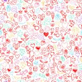 Love and hearts doodles, seamless background Stock Image