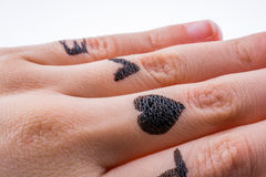 Love with Hearts drawn on hand Stock Photo