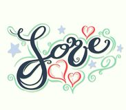 Love with hearts drawn. For love concept wedding and valentine. Vector illustration Stock Photography