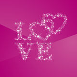 Love hearts full of stars pink background Royalty Free Stock Images