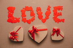 Love from hearts and gift boxes. Royalty Free Stock Photography