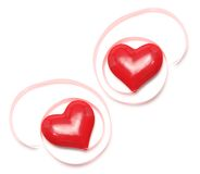 Love Hearts with Gift Ribbons Royalty Free Stock Photos
