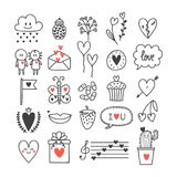 Love and hearts. Hand drawn set of cute doodle elements. Sketch collection for wedding or Valentine`s Day design Stock Photos