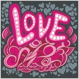 Love hearts hand lettering and doodles elements Stock Photo