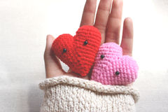 Love hearts in hand, valentines day card concept. Stock Image