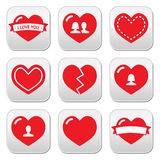 Love hearts icons set for Valentine's Day Stock Photo