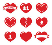 Love hearts icons set for Valentines Day Royalty Free Stock Photo