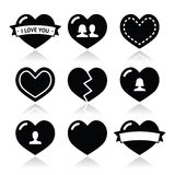 Love hearts icons set for Valentines Day Royalty Free Stock Photos