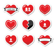 Love hearts labels set for Valentines Day Royalty Free Stock Image