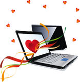 Love hearts and laptop computer Stock Photography