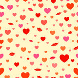 Love hearts and lips pattern Royalty Free Stock Photo