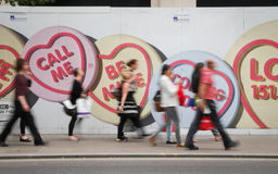 Love Hearts and London pedestrians Royalty Free Stock Image