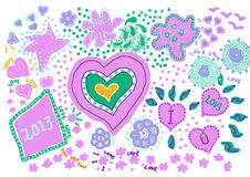 Love hearts with new  year (lilac) Royalty Free Stock Images