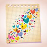 Love hearts note paper cartoon illustration Stock Image