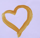 Love hearts. Orange heart painted on white background Stock Images