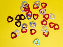 Love hearts. Red Love heart confetti royalty free stock photo