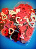 Love hearts. Red Love heart confetti royalty free stock photography