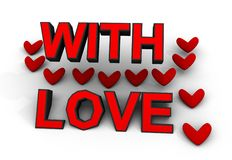 With Love Hearts Red on White Background 3d Sign Stock Image