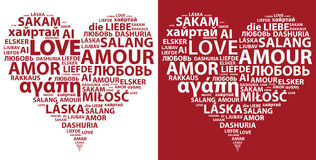 Love hearts. Red and white hearts made from words Stock Photo