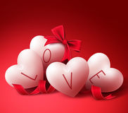 Love Hearts with Ribbons and Bow for Valentines Day Greeting Card. White Love Hearts with Ribbons and Bow for Valentines Day Greeting Card. in Red Background Stock Images