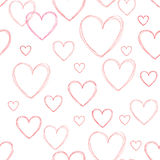 Love hearts seamless doodle line pattern. Valentine day holiday Stock Photos