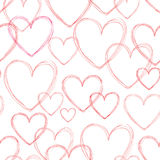 Love hearts seamless doodle line pattern. Valentine day holiday Royalty Free Stock Photo