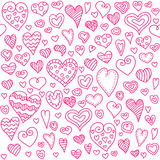 Love hearts seamless pattern. Doodle heart. Romantic background. Vector illustration Stock Images