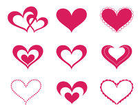 Love hearts set. A collection of love hearts vector illustration