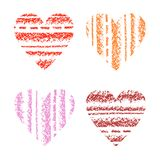 Love hearts set striped crayon hand drawing with colorstroke. Valentines day`s shape design element. Heart silhouette red, pink co Royalty Free Stock Image