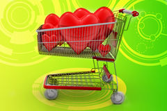 Love hearts in a shopping cart trolley Royalty Free Stock Photo