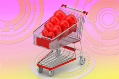 Love hearts in a shopping cart trolley Royalty Free Stock Photography