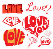 Love & Hearts Sketchy Notebook Doodles Design Elements. Royalty Free Stock Photography