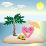 Love hearts on vacation sitting under a palm tree on the beach,a Stock Photos