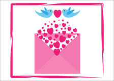 Love Hearts Valentine greetings card. Valentines day greeting card template with bluebirds and hearts, vector Stock Photos