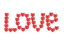 Love from hearts. Valentine's Day celebration concept: red glossy shiny heart shape isolated on white background Royalty Free Stock Images