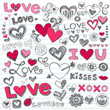 Love Hearts Valentine's Day Doodles. Valentine''s Day Love & Hearts Sketchy Notebook Doodles Design Elements on Lined Sketchbook Paper Background- Vector Stock Images
